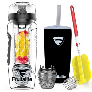 Fruitalite Fruit Infuser Water Bottle: POLAR EDITION – 1 Litre, featuring Ice Gel Freezer Ball Infusion Rod – includes Anti Sweat Sleeve, Detox Water Recipes eBook, Cleaning Brush & Protein Shaker Ball