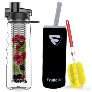 Fruitalite Fruit Infuser Water Bottle- 750ml, Anti-Sweat Sleeve, Infusion Detox Water & Weight Loss Recipes eBook, Cleaning Brush(Black)