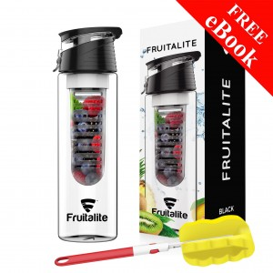 Fruitalite Fruit Infuser Water Bottle(Black) - 800ml, Infusion Detox Water and Weight Loss Recipes eBook, Cleaning Brush
