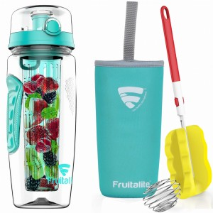Fruitalite Fruit Infuser Water Bottle(Turquoise/Light Blue) - 1 Ltr, Anti-Sweat Insulating Sleeve, Infusion Detox Water & Rapid Weight Loss Recipes eBook, Cleaning Brush, Protein Shaker Ball