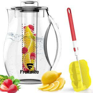 Fruitalite Fruit & Tea Infuser Water Pitcher/Jug/Bottle - 2.75 Ltr/2750 ml, Fruit Infusion Detox Water Recipes eBook, Free Cleaning Brush featuring glass like clear Acrylic plastic
