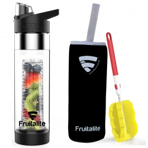 Fruitalite Fruit Infuser Water Bottle- 700ml, Anti-Sweat Sleeve, Infusion Detox Water & Weight Loss Recipes eBook, Cleaning Brush(Black)