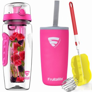 Fruitalite Fruit Infuser Water Bottle(Pink) - 1 Ltr, Anti-Sweat Insulating Sleeve, Infusion Detox Water & Rapid Weight Loss Recipes eBook, Cleaning Brush, Protein Shaker Ball