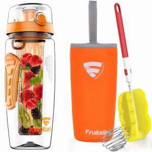 Fruitalite Fruit Infuser Water Bottle(Orange) - 1 Ltr, Anti-Sweat Insulating Sleeve, Infusion Detox Water & Rapid Weight Loss Recipes eBook, Cleaning Brush, Protein Shaker Ball