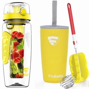 Fruitalite Fruit Infuser Water Bottle(Yellow) - 1 Ltr, Anti-Sweat Insulating Sleeve, Infusion Detox Water & Rapid Weight Loss Recipes eBook, Cleaning Brush, Protein Shaker Ball