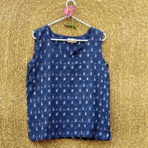 Ikat Casual Blue Top