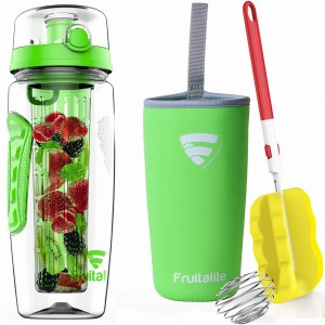 Fruitalite Fruit Infuser Water Bottle(Green) - 1 Ltr, Anti-Sweat Insulating Sleeve, Infusion Detox Water & Rapid Weight Loss Recipes eBook, Cleaning Brush, Protein Shaker Ball