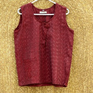 Maroon Pocket Small Top