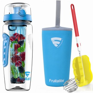 Fruitalite Fruit Infuser Water Bottle(Blue) - 1 Ltr, Anti-Sweat Insulating Sleeve, Infusion Detox Water & Rapid Weight Loss Recipes eBook, Cleaning Brush, Protein Shaker Ball