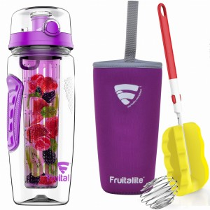 Fruitalite Fruit Infuser Water Bottle(Purple) - 1 Ltr, Anti-Sweat Insulating Sleeve, Infusion Detox Water & Rapid Weight Loss Recipes eBook, Cleaning Brush, Protein Shaker Ball