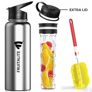 Fruitalite Thermosteel Bottle/ Thermos Flask – 1200 ml with Fruit Infuser Rod & 2 Lids, Insulated Stainless Steel Water Bottles with Cleaning Brush & Recipe eBook – For Hot & Cold(Grey)