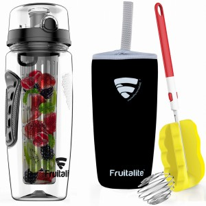 Fruitalite Fruit Infuser Water Bottle(Black) - 1 Ltr, Anti-Sweat Insulating Sleeve, Infusion Detox Water & Rapid Weight Loss Recipes eBook, Cleaning Brush, Protein Shaker Ball