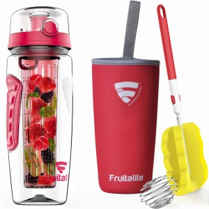 Fruitalite Fruit Infuser Water Bottle(Light Red) - 1 Ltr, Anti-Sweat Insulating Sleeve, Infusion Detox Water & Rapid Weight Loss Recipes eBook, Cleaning Brush, Protein Shaker Ball
